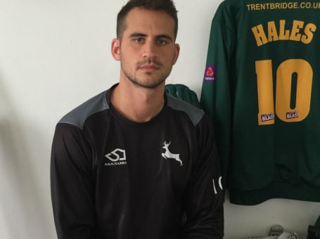 Alex Hales in Notts dressing room