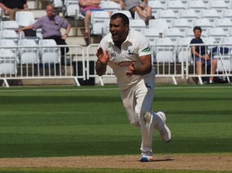 Samit Patel celebrates bowling whites
