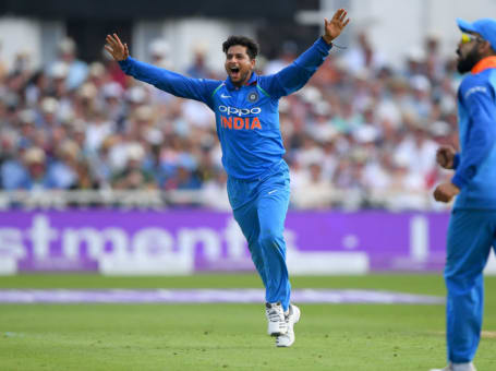Kuldeep Yadav celebrates
