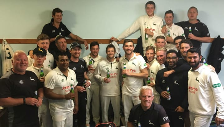 Team celebration at Sussex