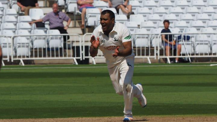 Samit Patel celebrates bowling whites