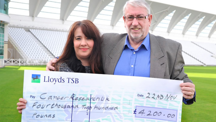Eddie Hemmings presents the cheque to Cancer Research UK Area Manager Andrea Day at Trent Bridge