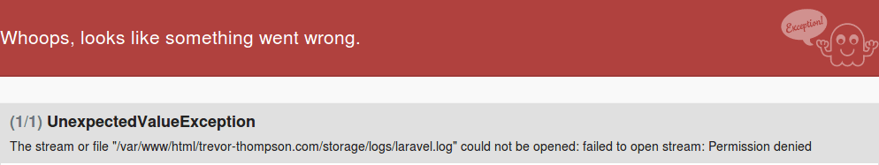 The stream or file laravel log could not be opened