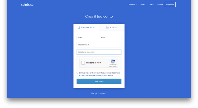 Coinbase Registrazione