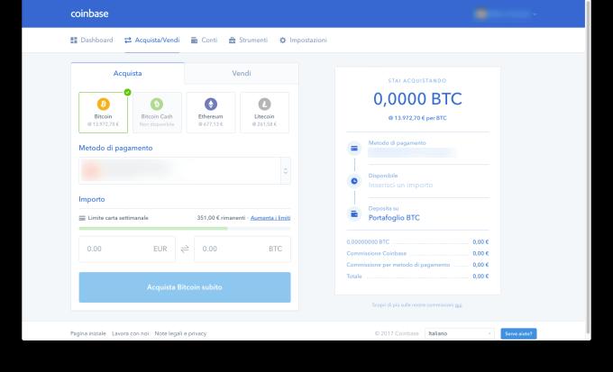 Coinbase Acquisto bitcoin