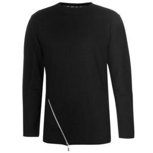 Asymetrický zip s dlouhým rukávem T Shirt pánské