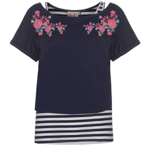 Pruhované dvouvrstvé tričko dámské