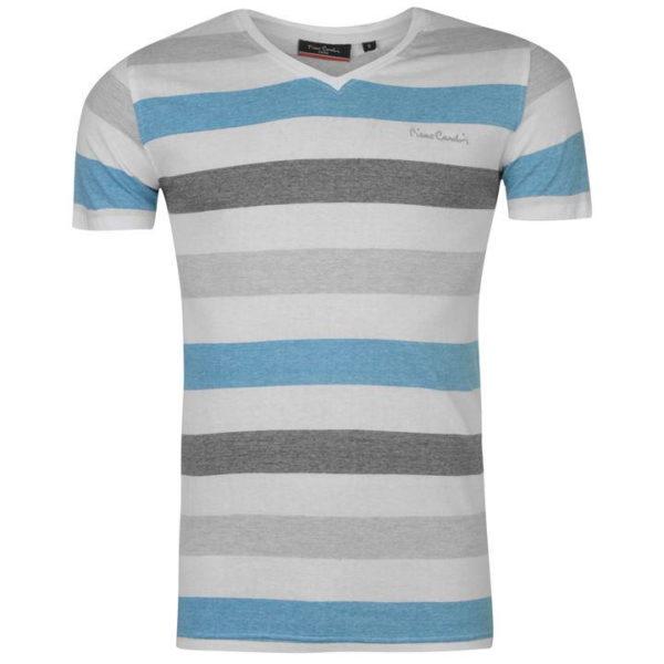 V Neck Pruhované tričko pánské