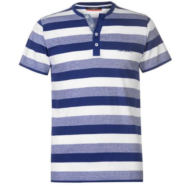 Y Neck Stripe tričko pánské