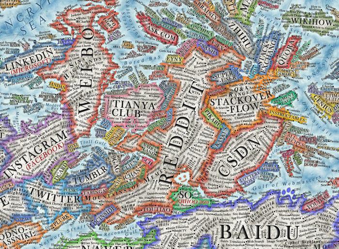 Siti e social come un continente, ecco la mappa 'antica' di internet