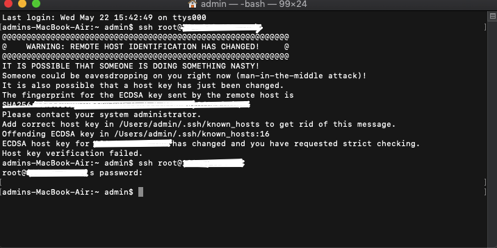 SSH Warning:- REMOTE HOST IDENTIFICATION HAS CHANGED!