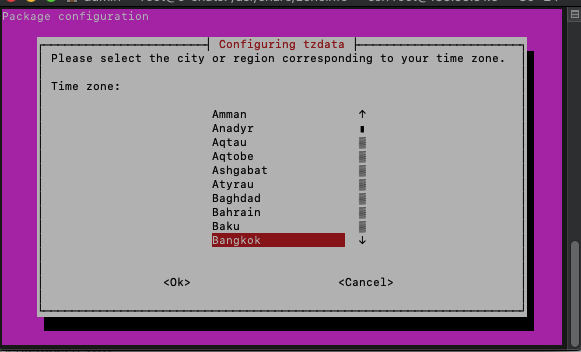 Select region to change timezone in linux server