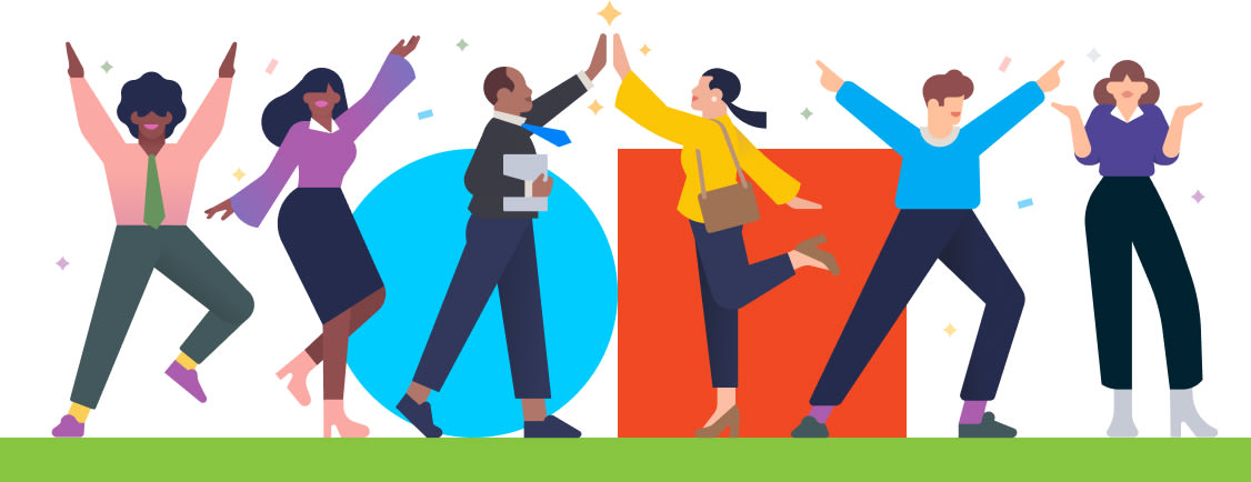 Diversity, Inclusion and Equality banner image with people celebrating and TripActions logo behind