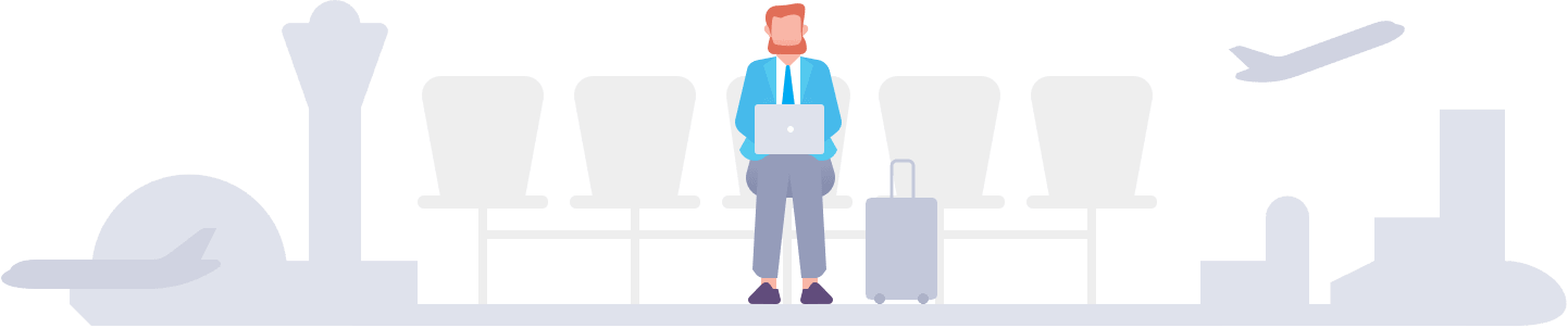 illustration of a man sitting at an airport with a laptop and suitcase