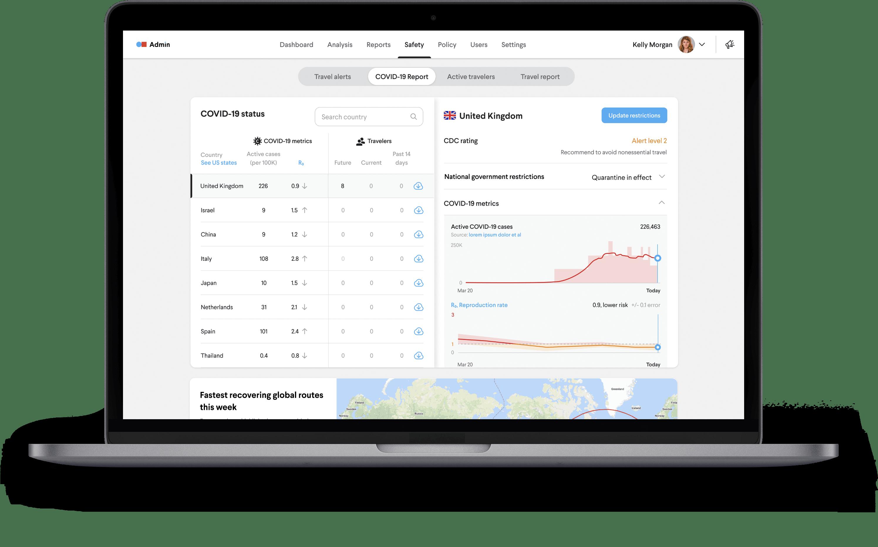 TripActions Product Screenshot - Active Travelers Map