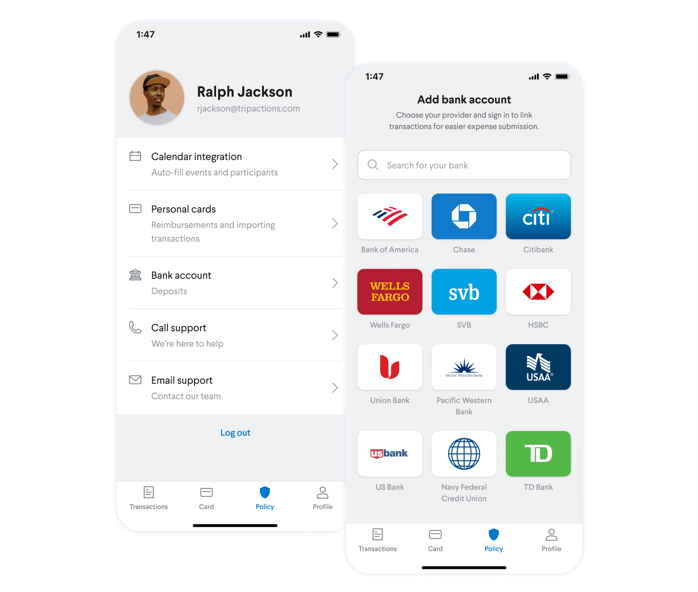 Screenshot - Showing how you can add a personal bank account within TripActions Liquid mobile app so that you can receive rapid reimbursements.