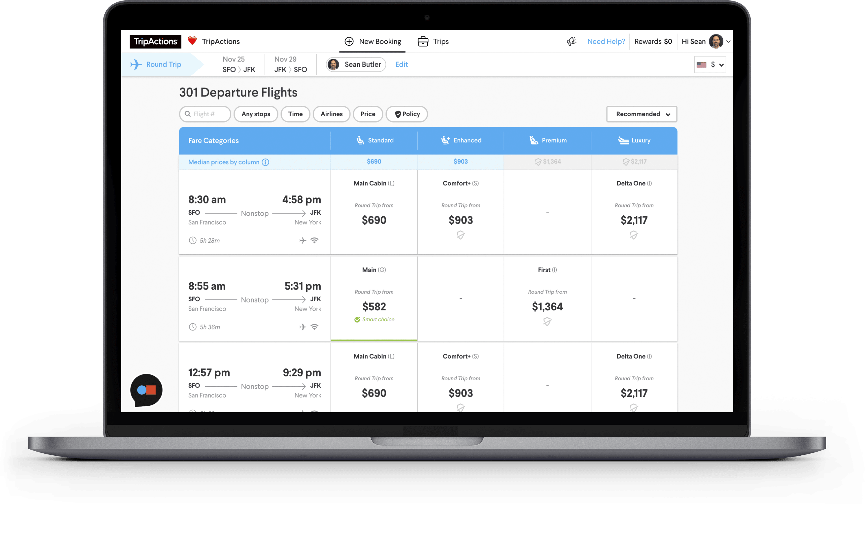 TripActions Product Screenshot - Flight search results