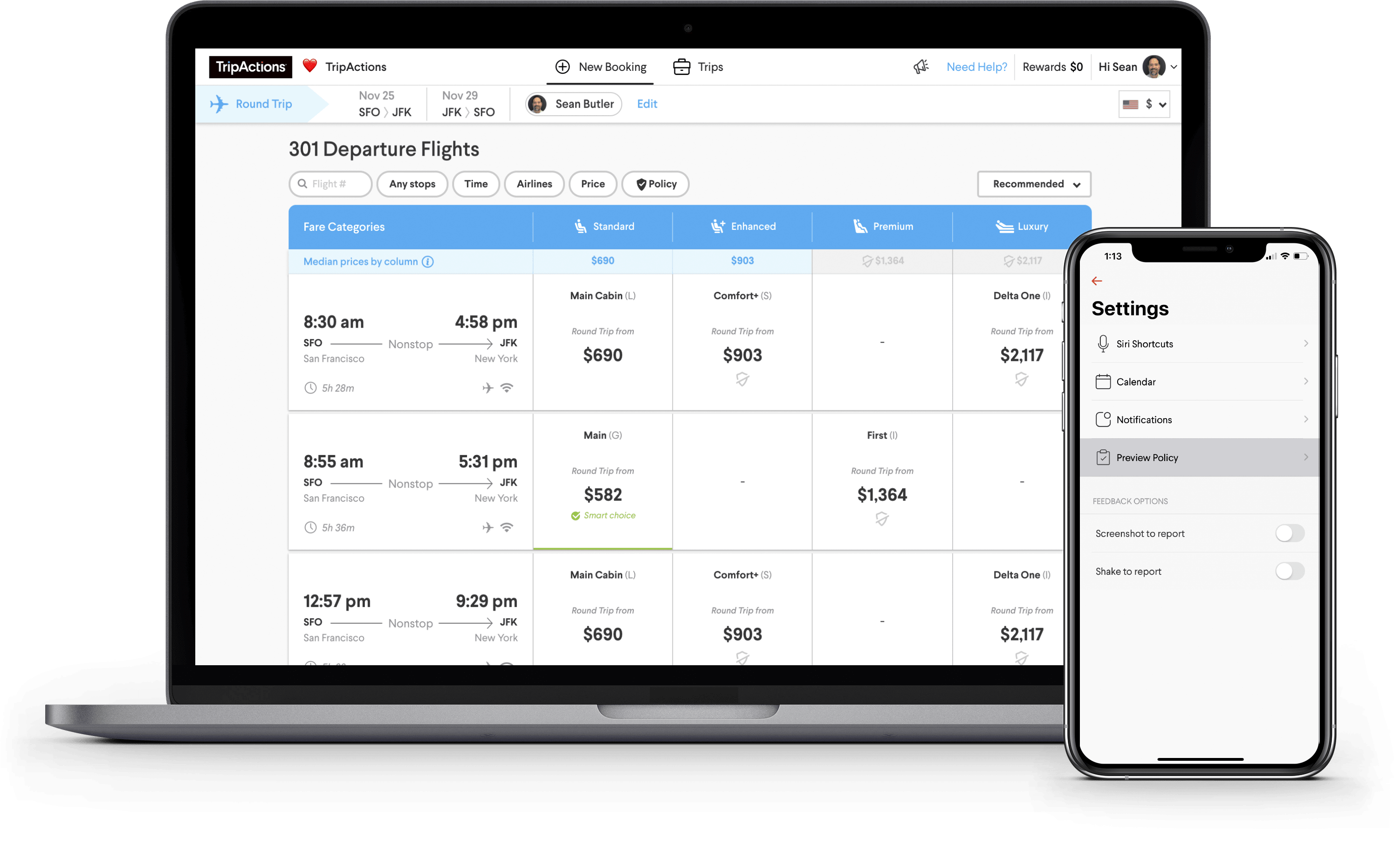 TripActions Product Screenshot - Unrivaled inventory and search powered by machine learning