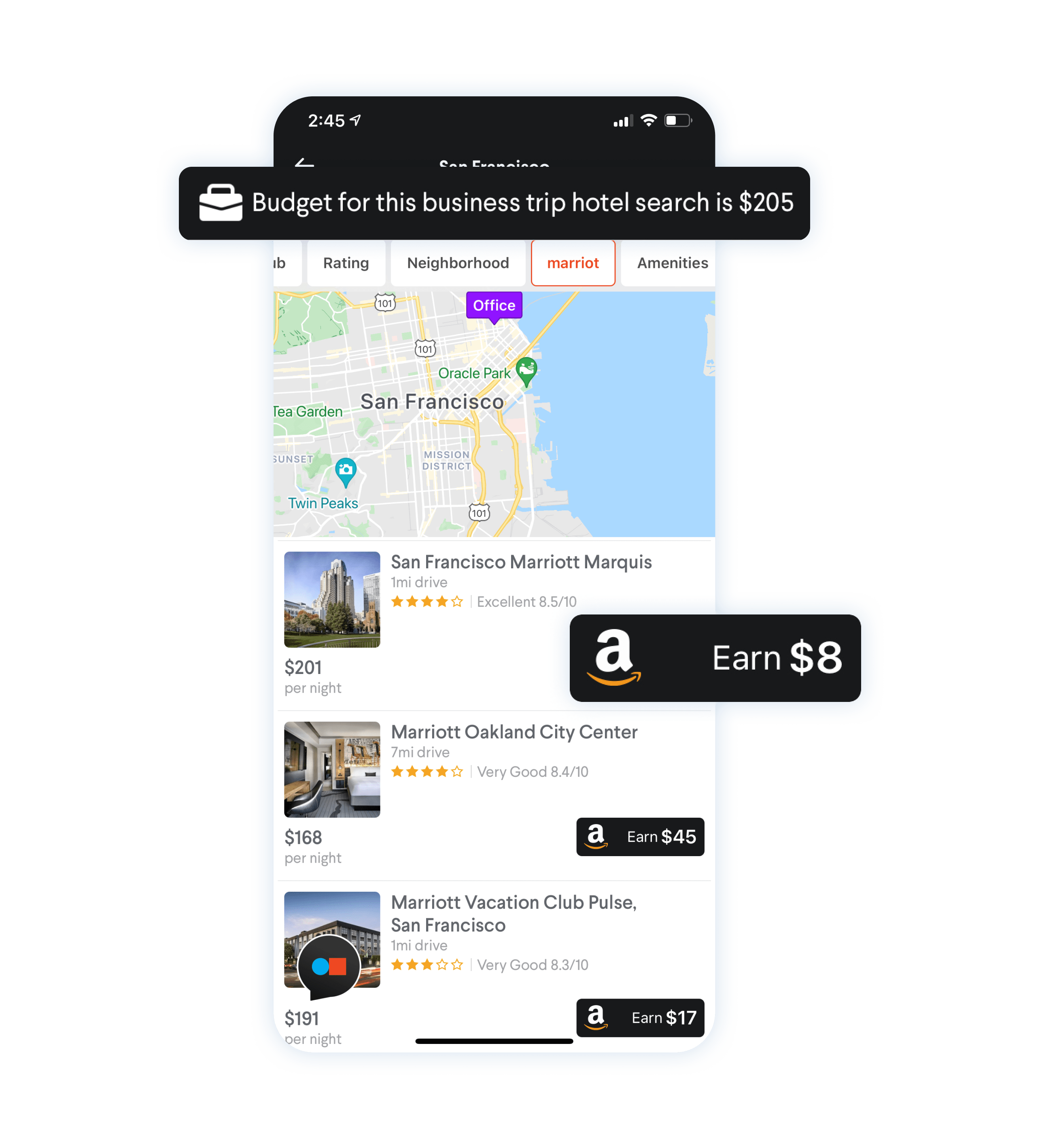 Image of TripActions price-to-beat feature, which rewards travelers for making lower cost bookings and provides companies with greater savings.