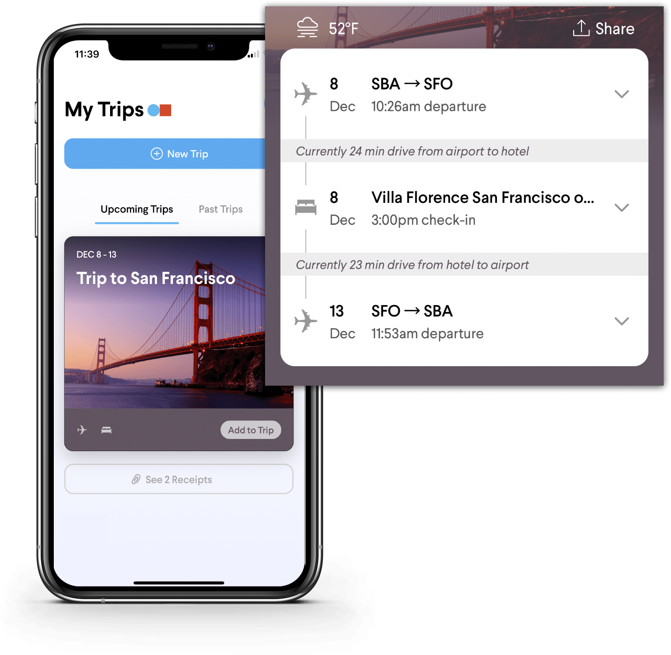 Why TripActions Product Screenshot - Mobile traveller trip agenda