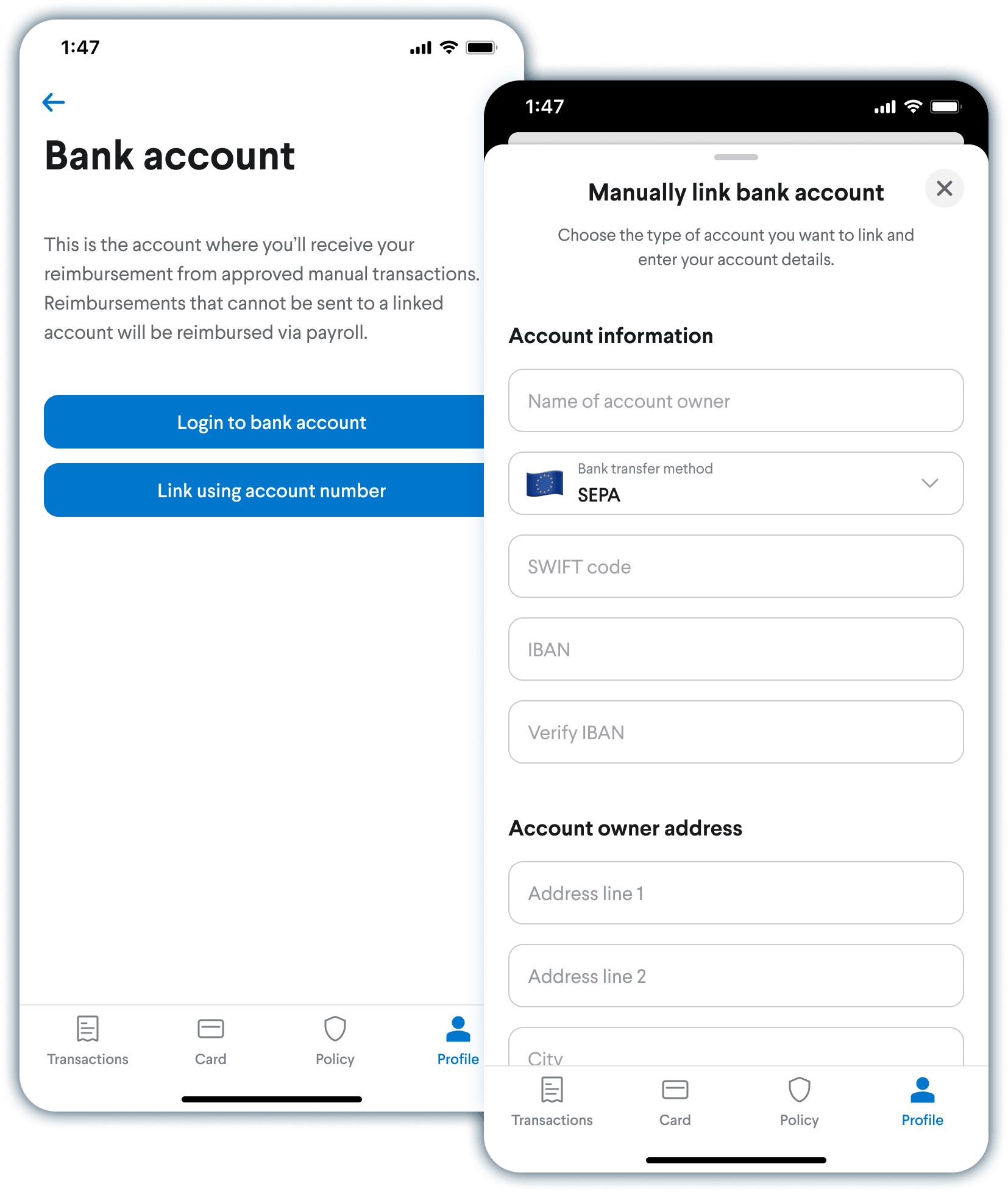 Image of user manually connecting to international bank accounts to receive EUR reimbursements