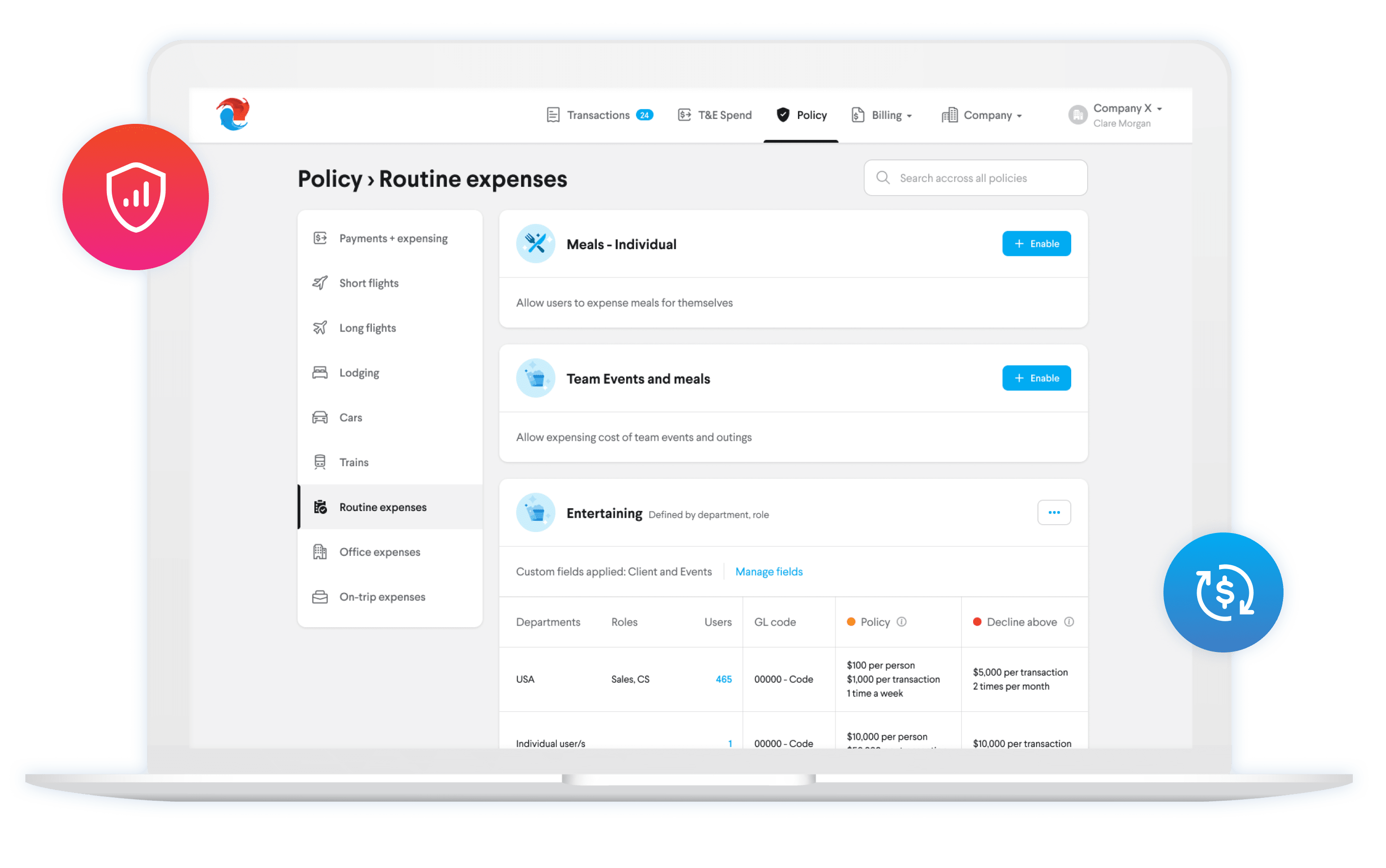 Screenshot showing TripActions' Policy tool and customization options.