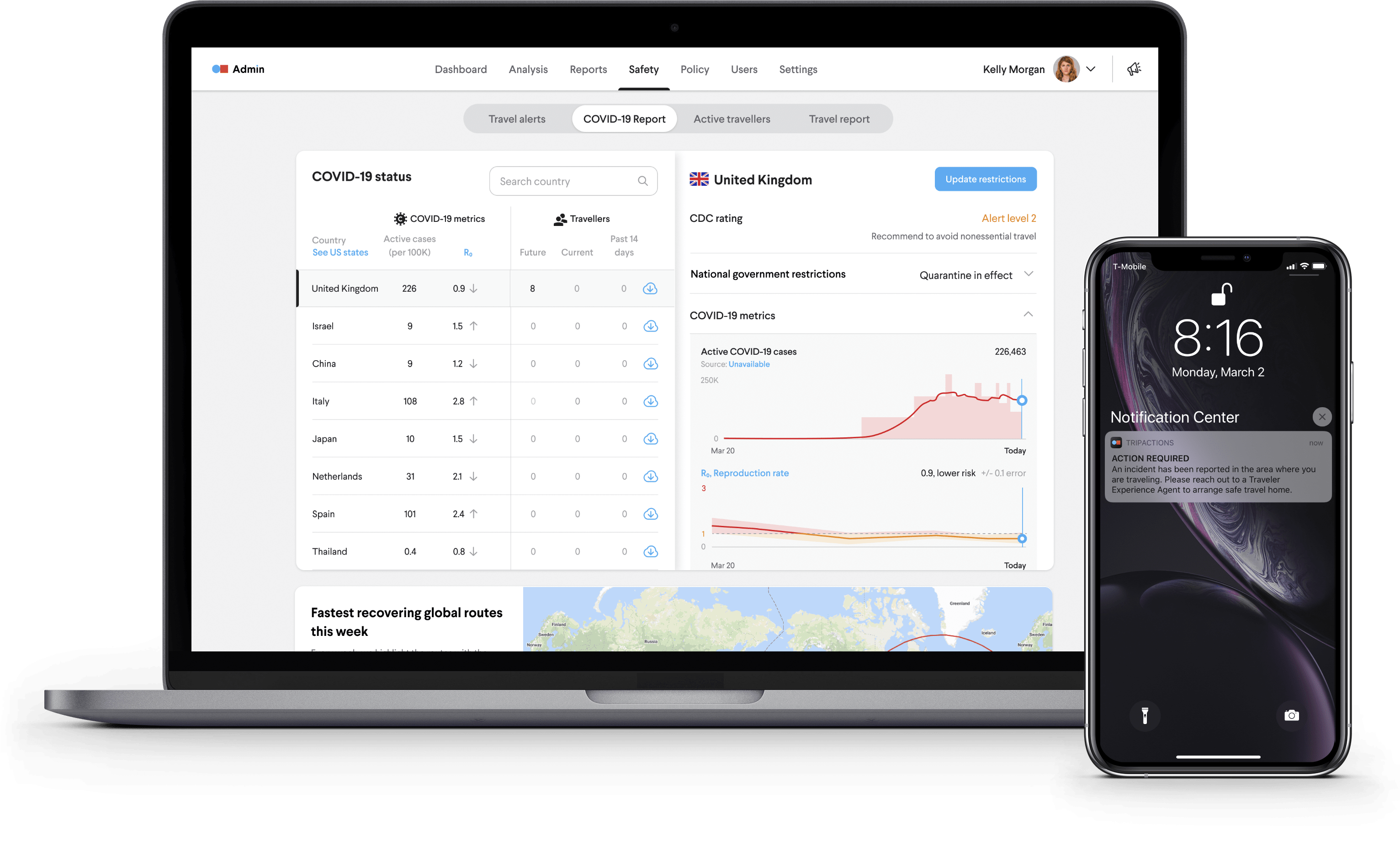 Travel alert banner on desktop and mobile app