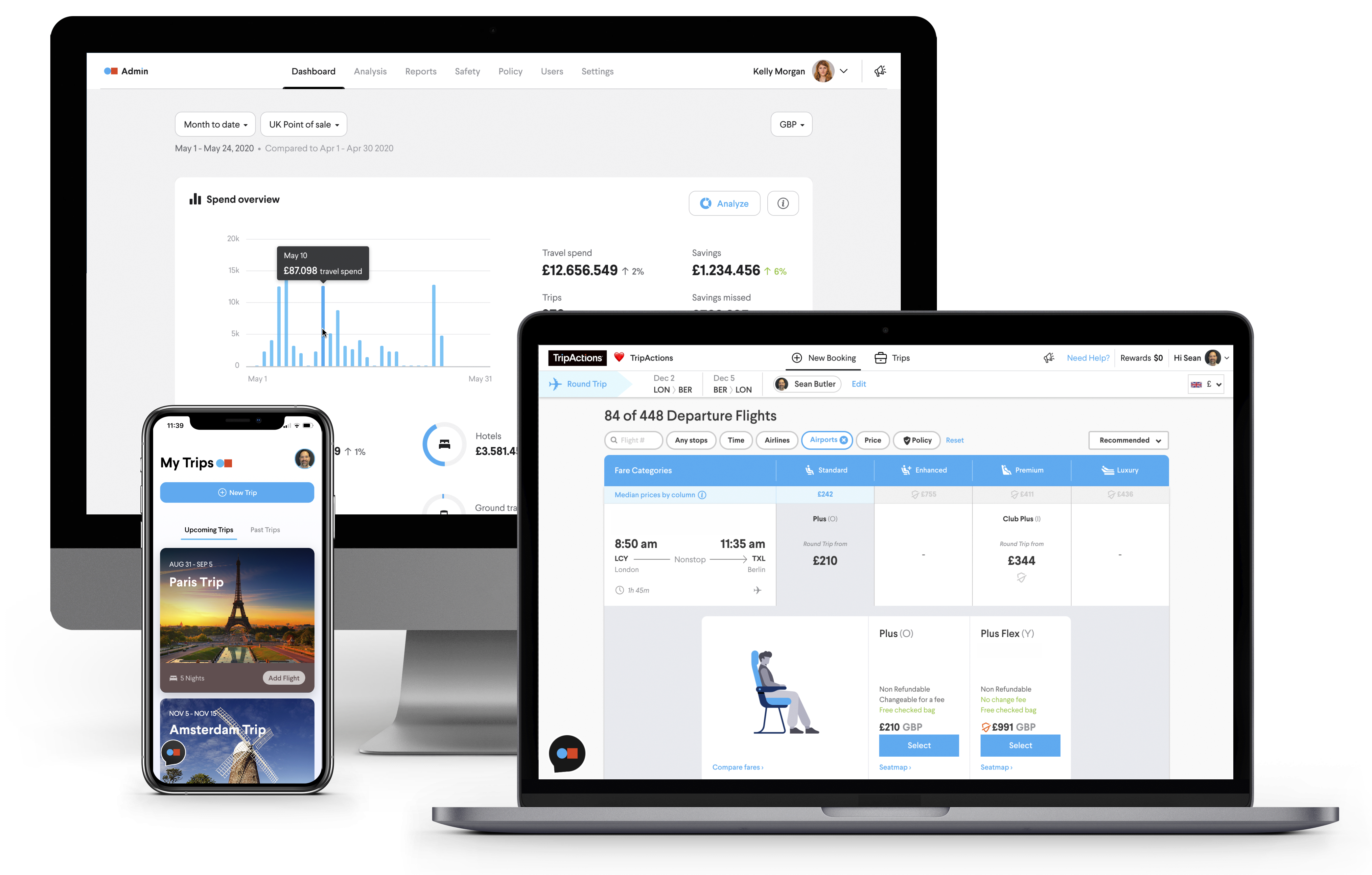 Why TripActions Product Screenshot - Visibility into travel spend with custom dashboards