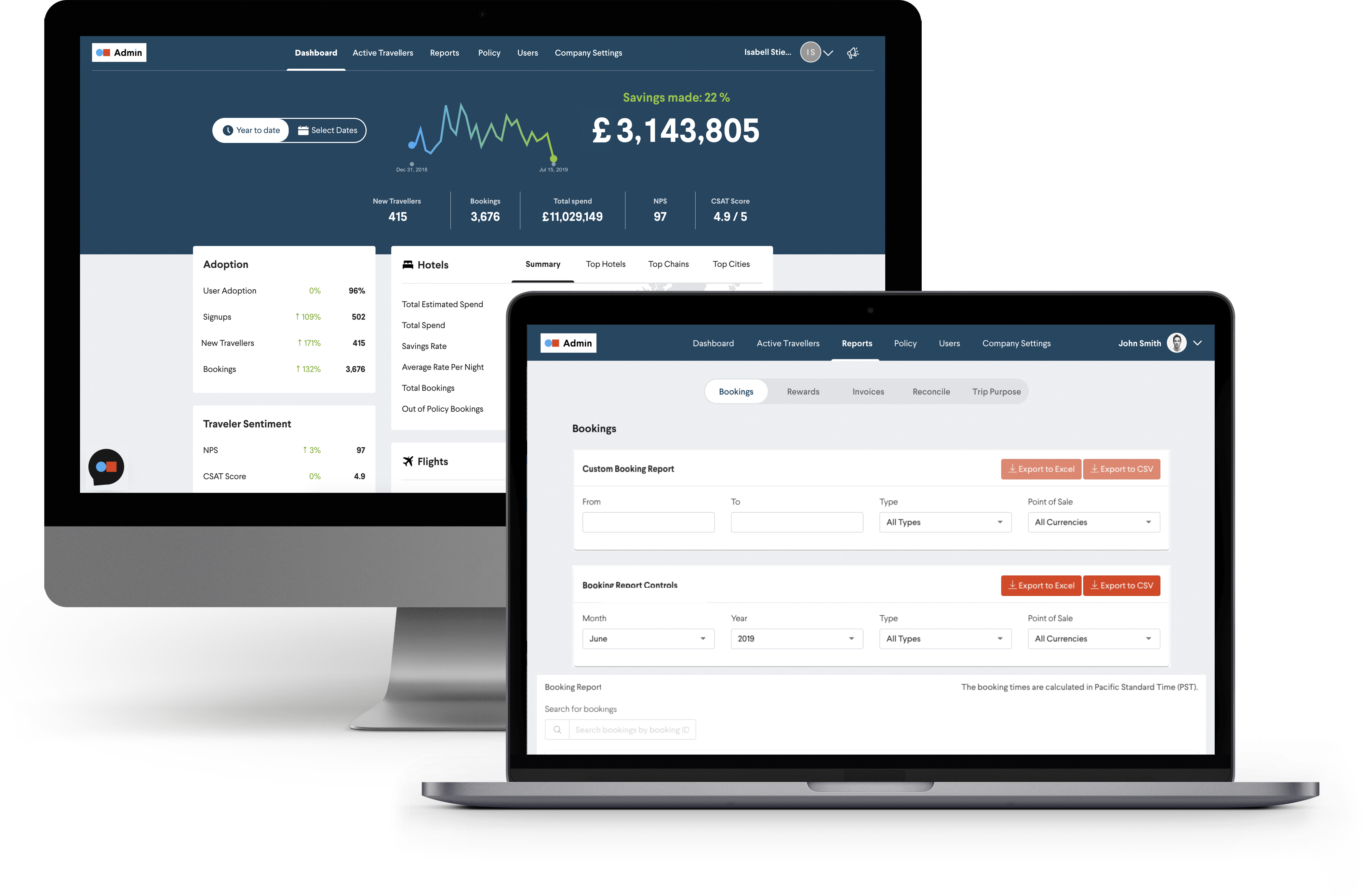 TripActions Enterprise - The TripActions product application dashboard provides detailed insight into travel spend and many other details