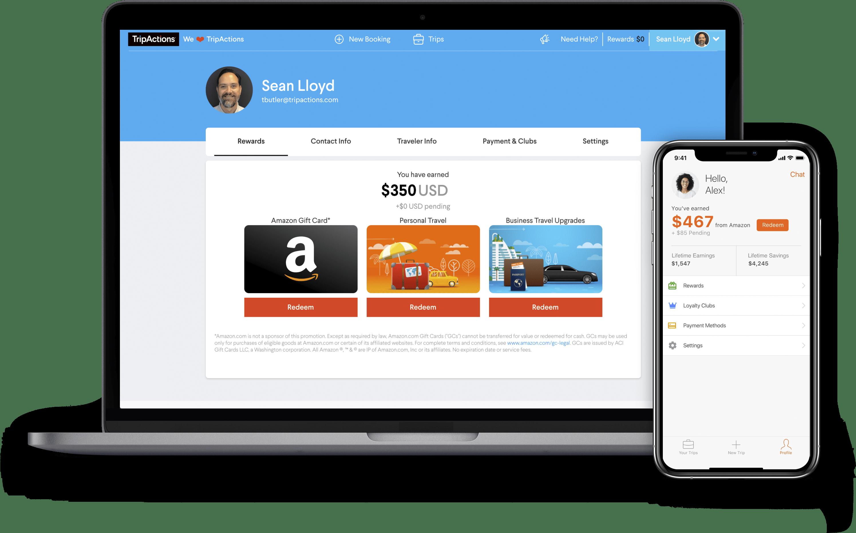 TripActions Product Screenshot - Traveler rewards program reports