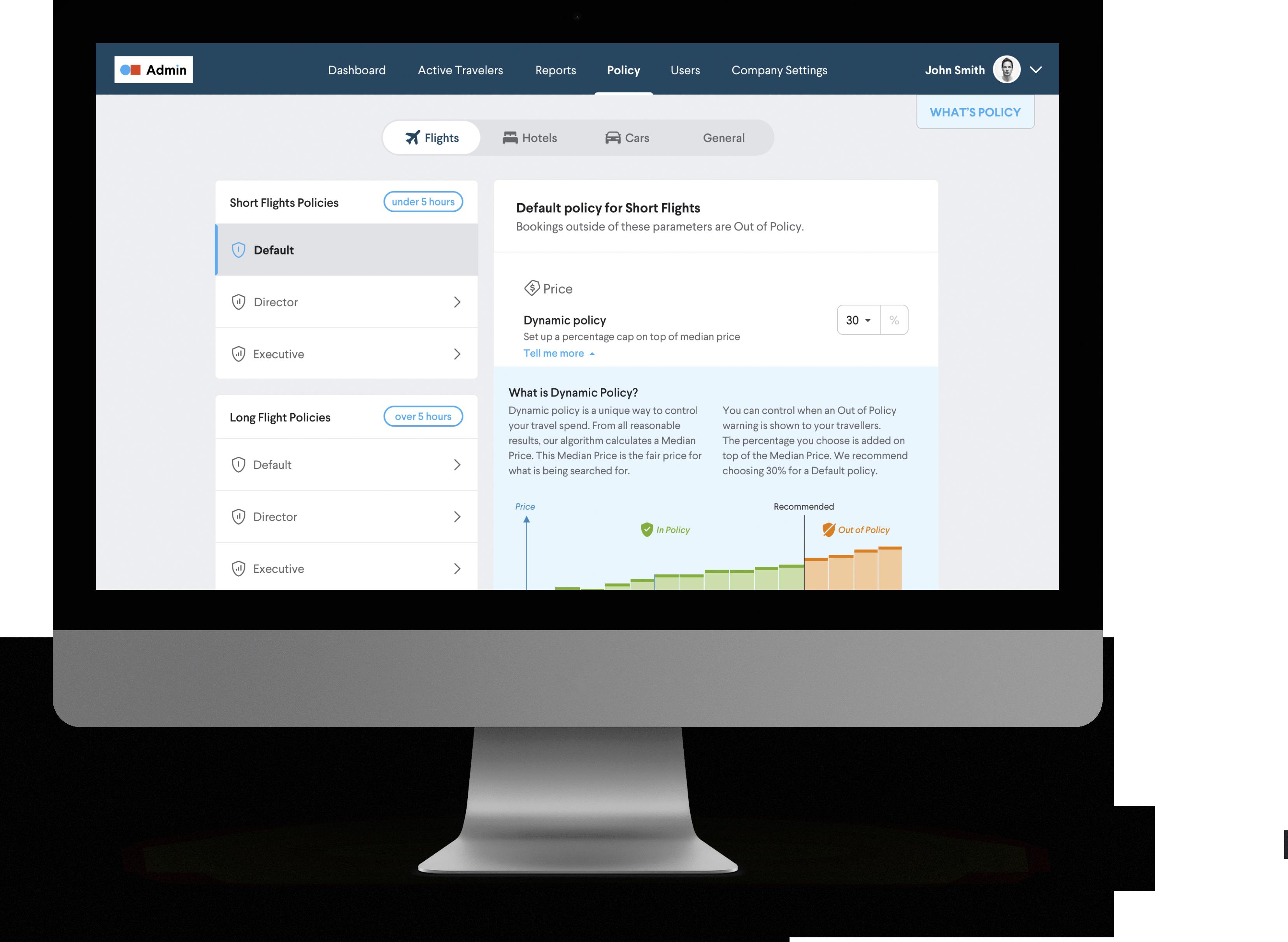 TripActions Product Screenshot - Company savings dashboard with top savers report