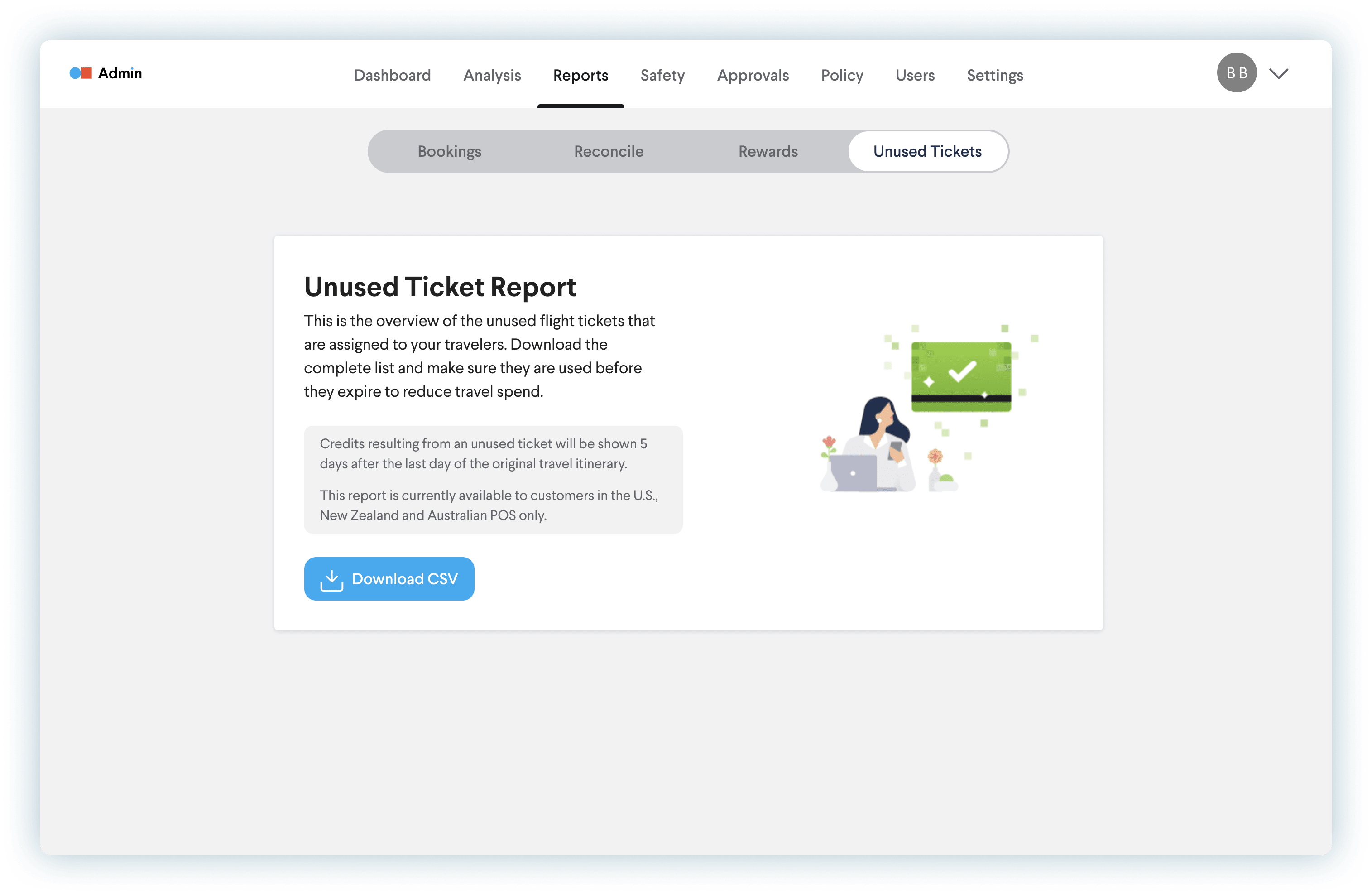 Why TripActions Product Screenshot - Unused Ticket Report
