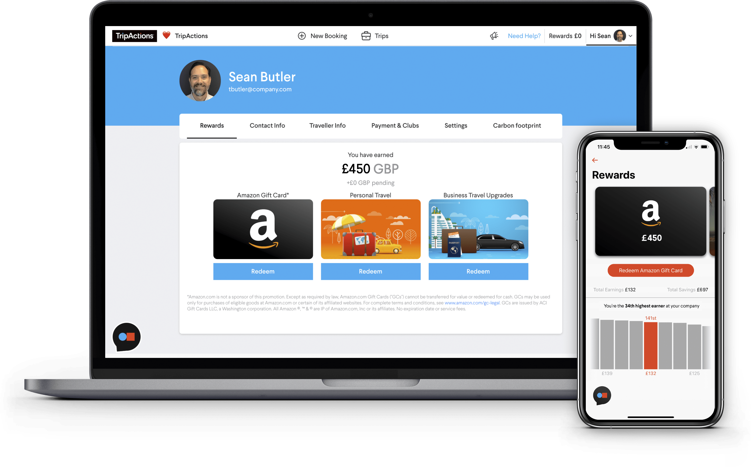 TripActions Product Screenshot - Traveller rewards programme reports