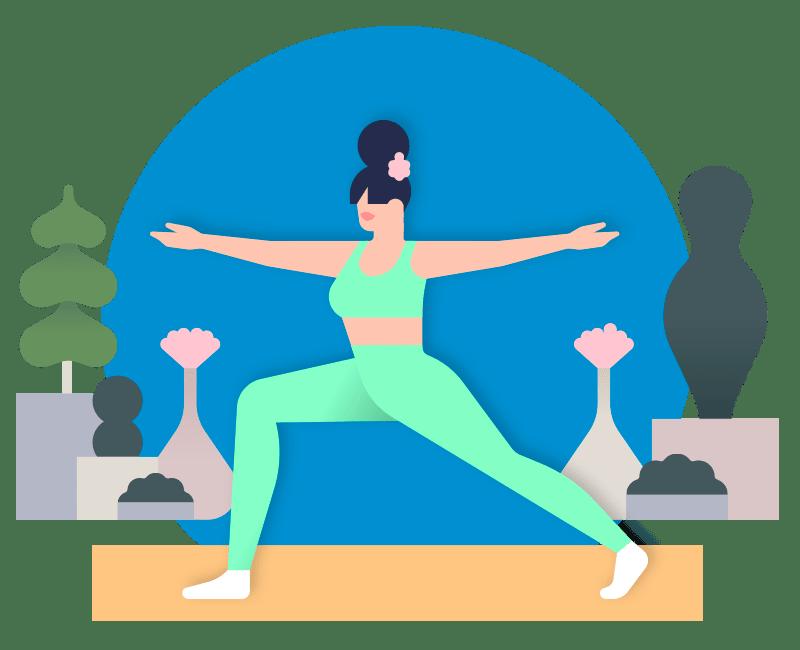 Podcast illustration. Woman doing yoga.