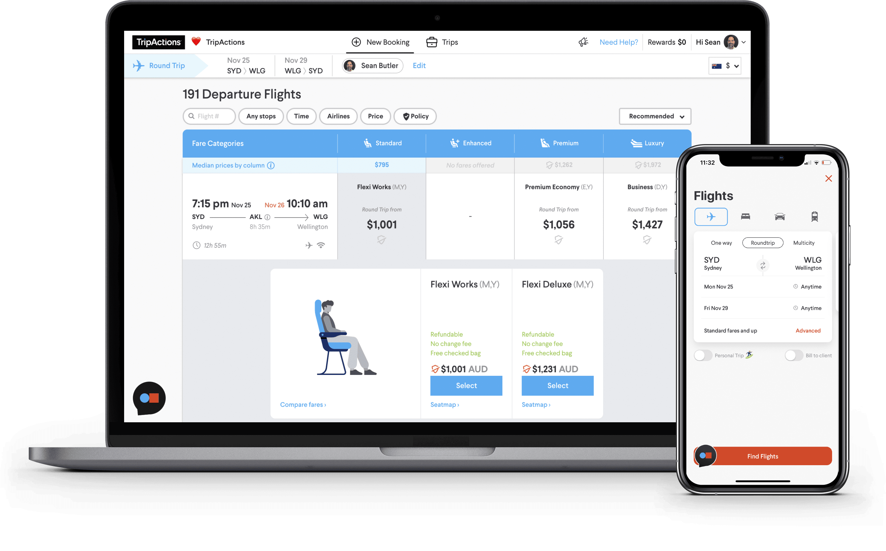 Travel Policy Product Screenshot - Flight fare categories