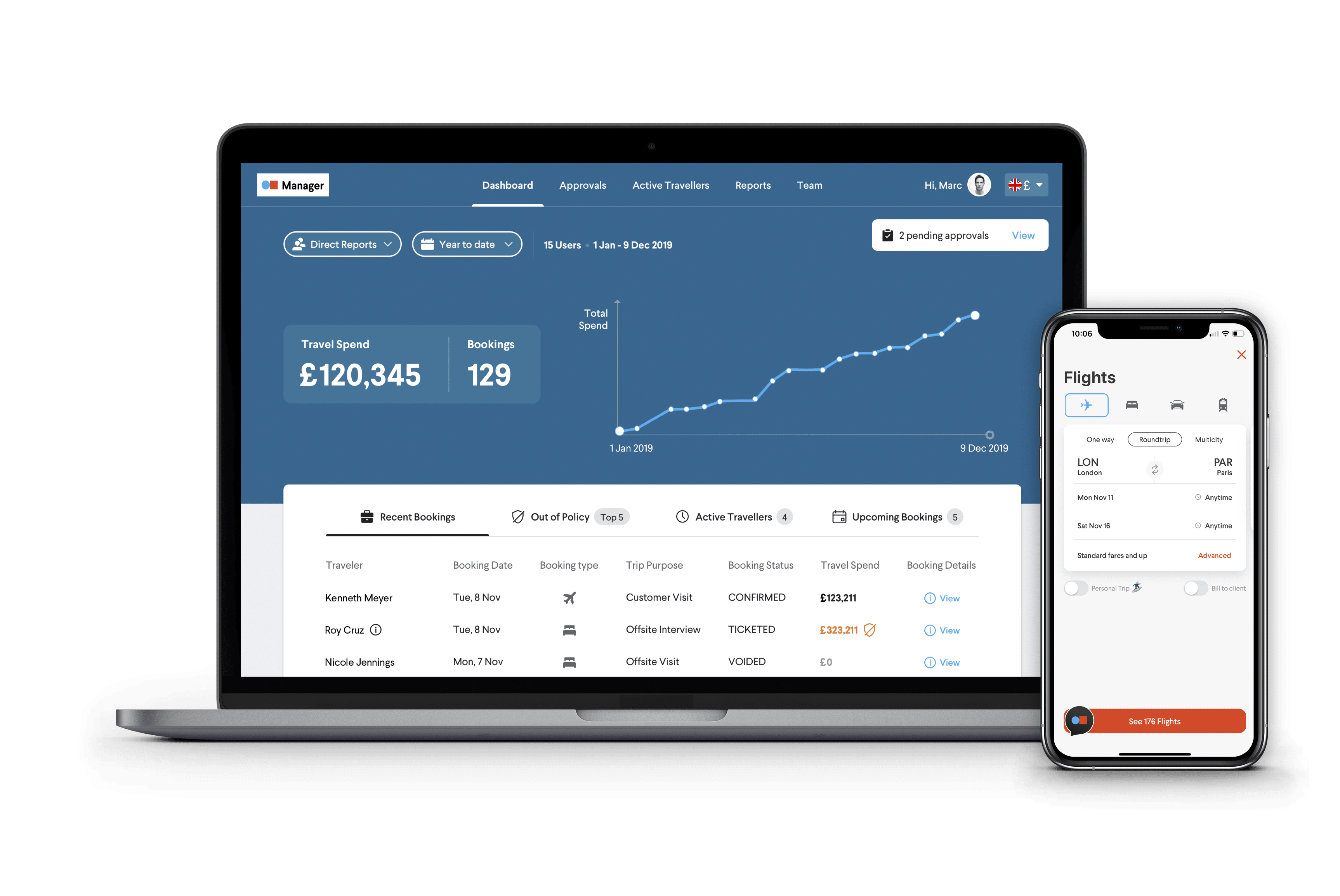 Screenshots of TripActions Manager Dashboard and the easy to use mobile app trip experience