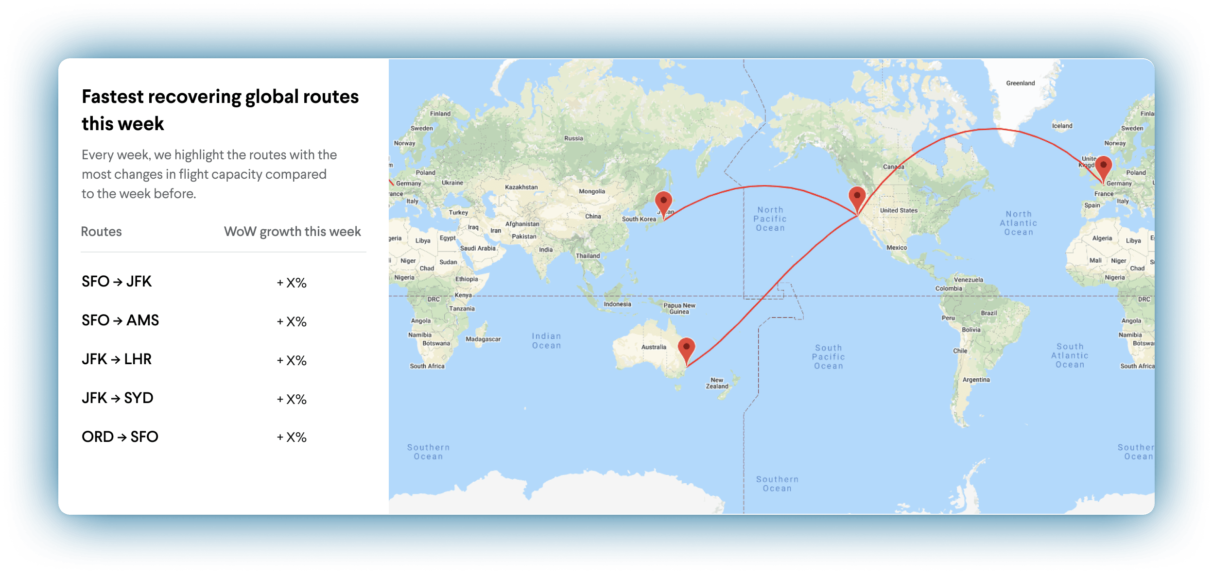 TripActions Product Screenshot - Administrator live traveller location map