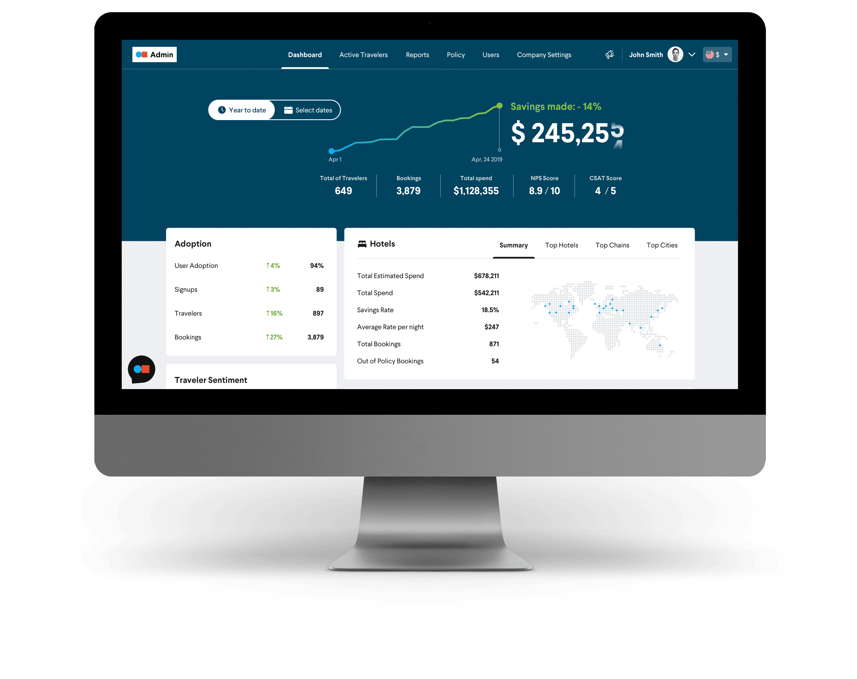 TripActions Product Screenshot - Administrator Dashboard