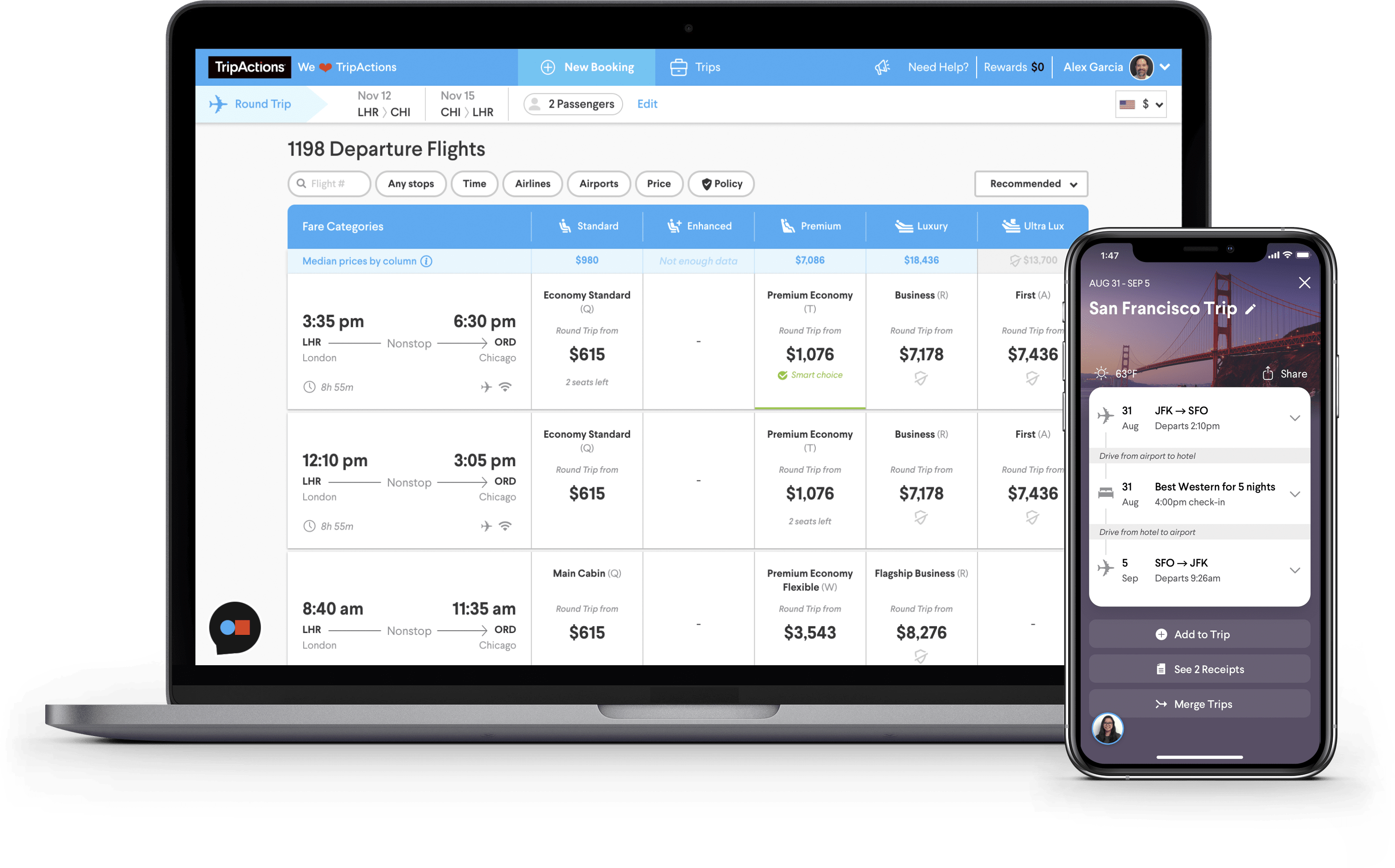 Flight Search screen with large inventory and step-by-step mobile itinerary