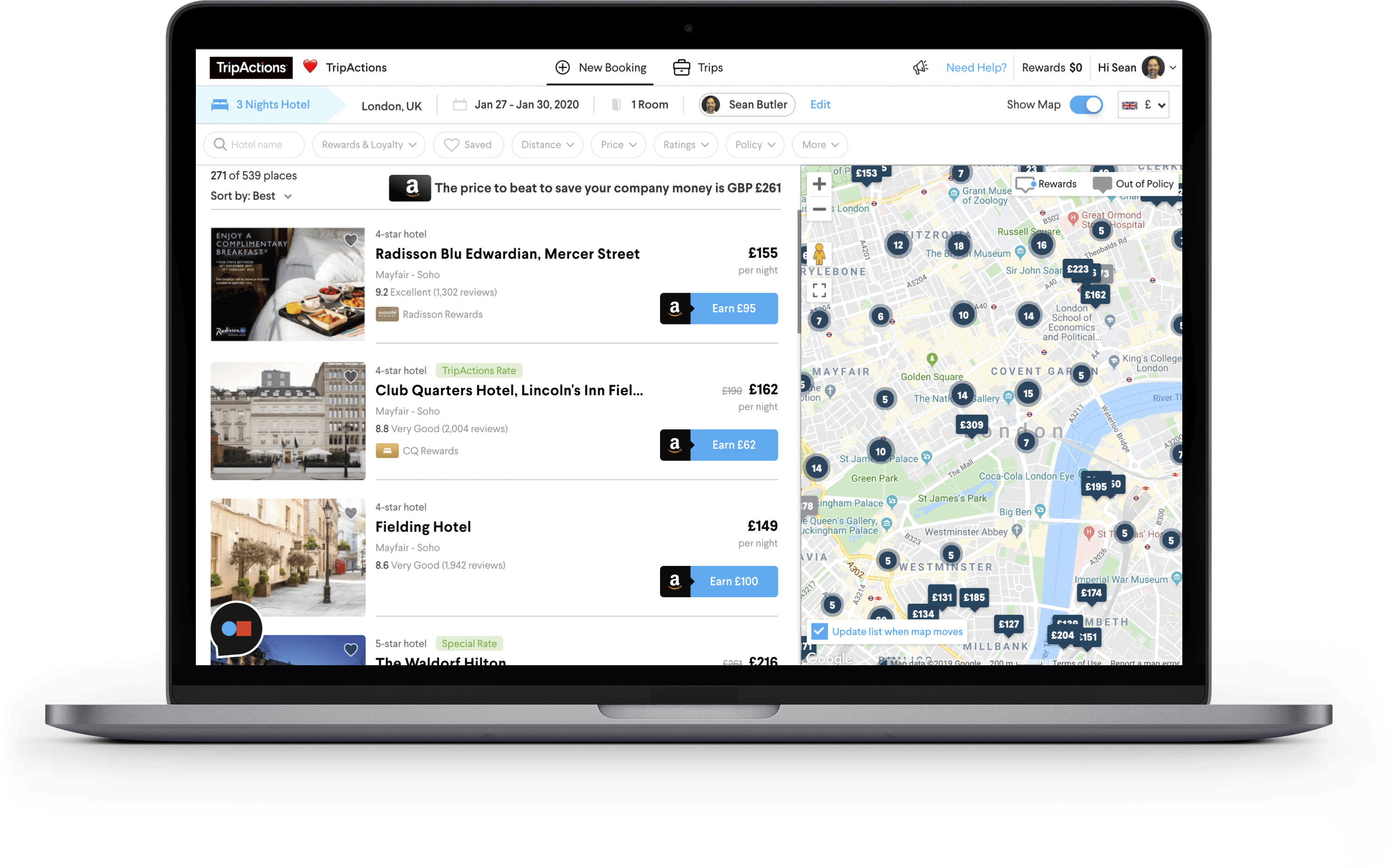 TripActions Product Screenshot - AI-driven, personalised search results