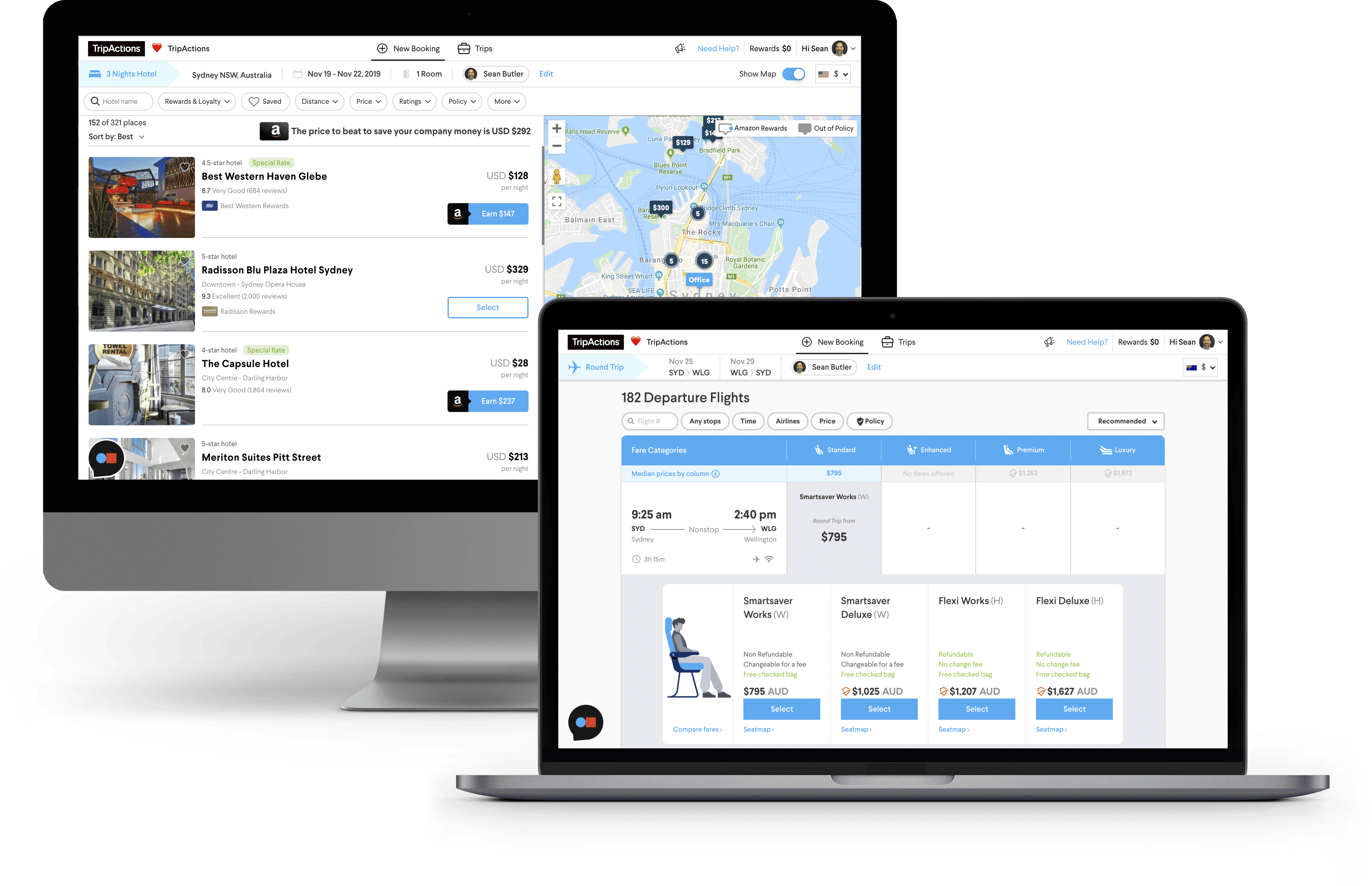 Establish a travel policy booking product screen