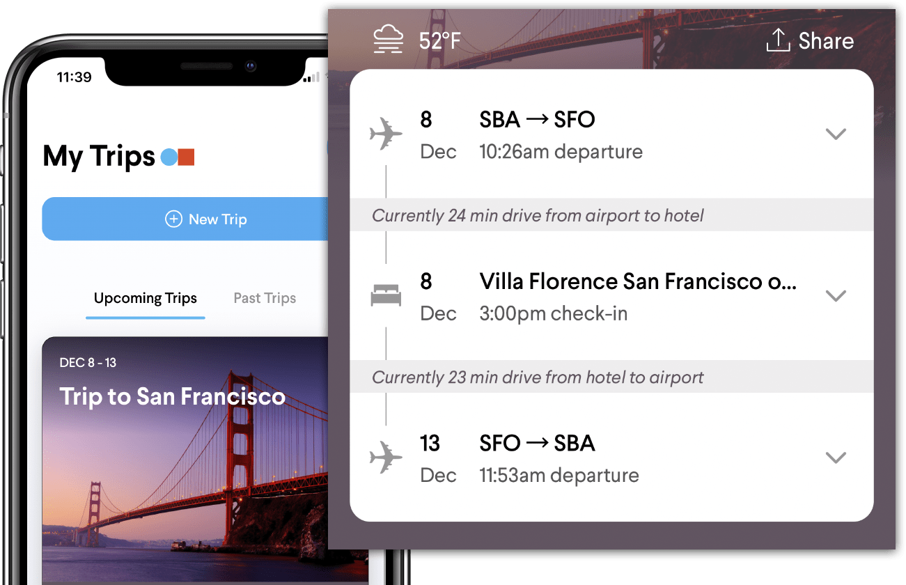 TripActions Product Screenshot - Mobile app supports travel bookings for employees and job candidates