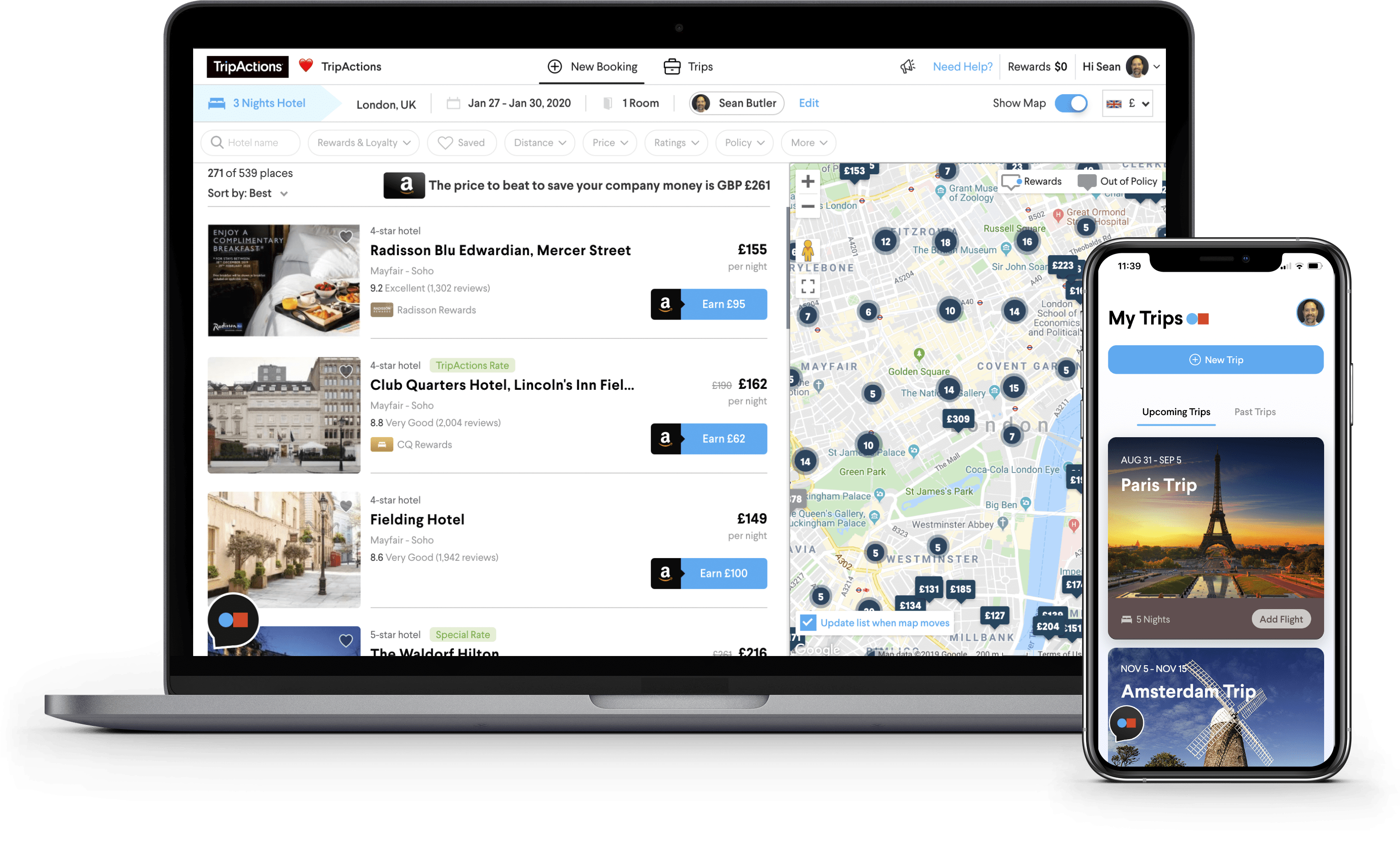TripActions corporate travel management platform includes company savings dashboard, an unrivaled inventory and mobile itineraries