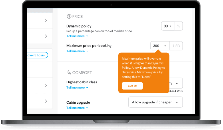TripActions Product Screenshot - Policy setup is simplified when you use smart features like dynamic policy
