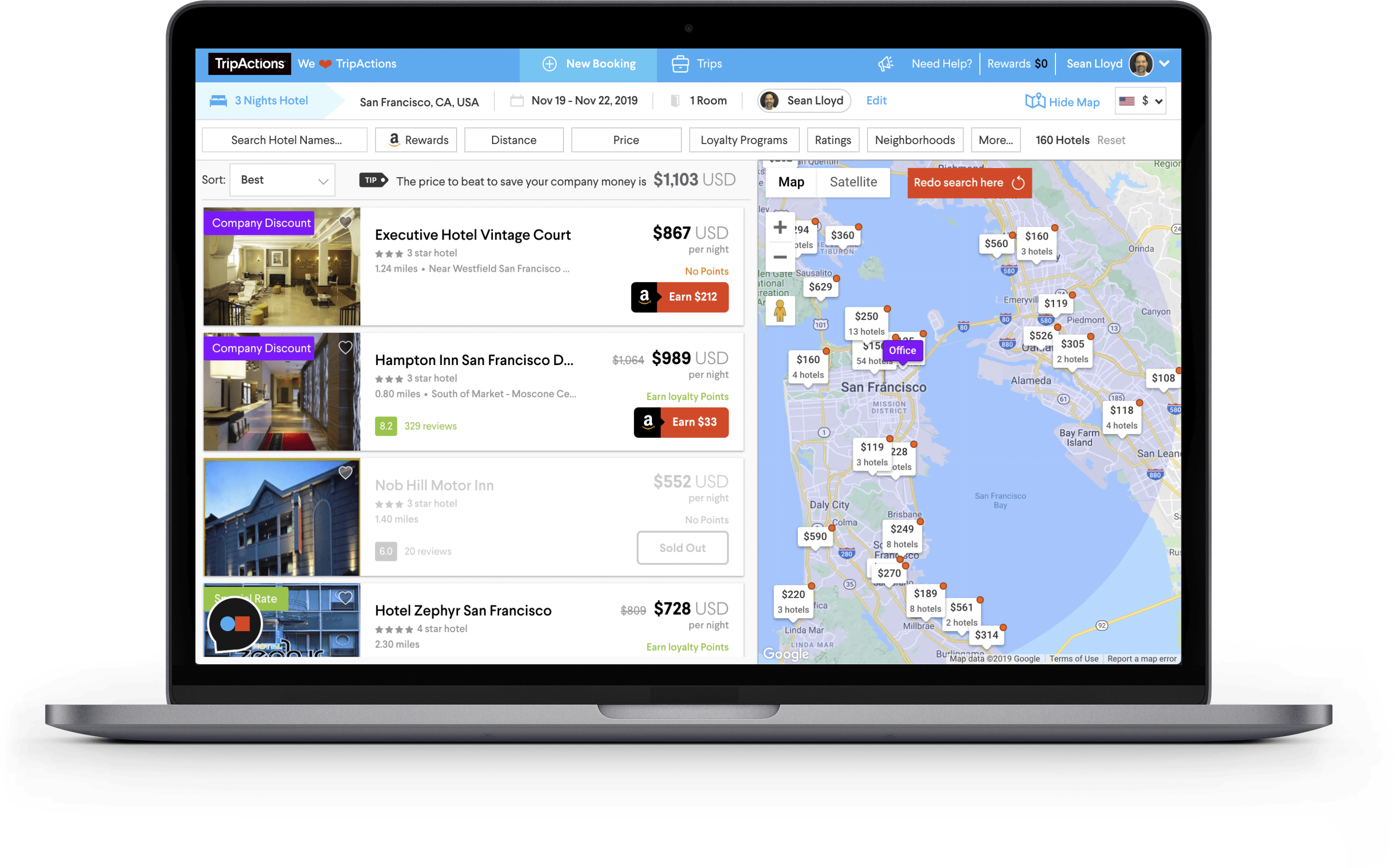 TripActions Product Screenshot - AI-driven, personalized search results
