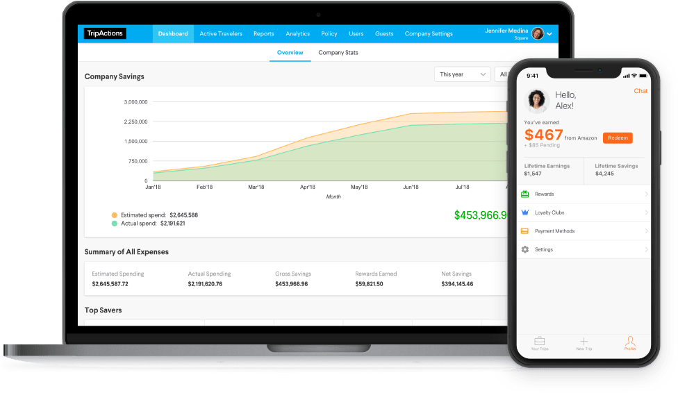 TripActions Product Screenshot - Company savings dashboard and traveler savings screen
