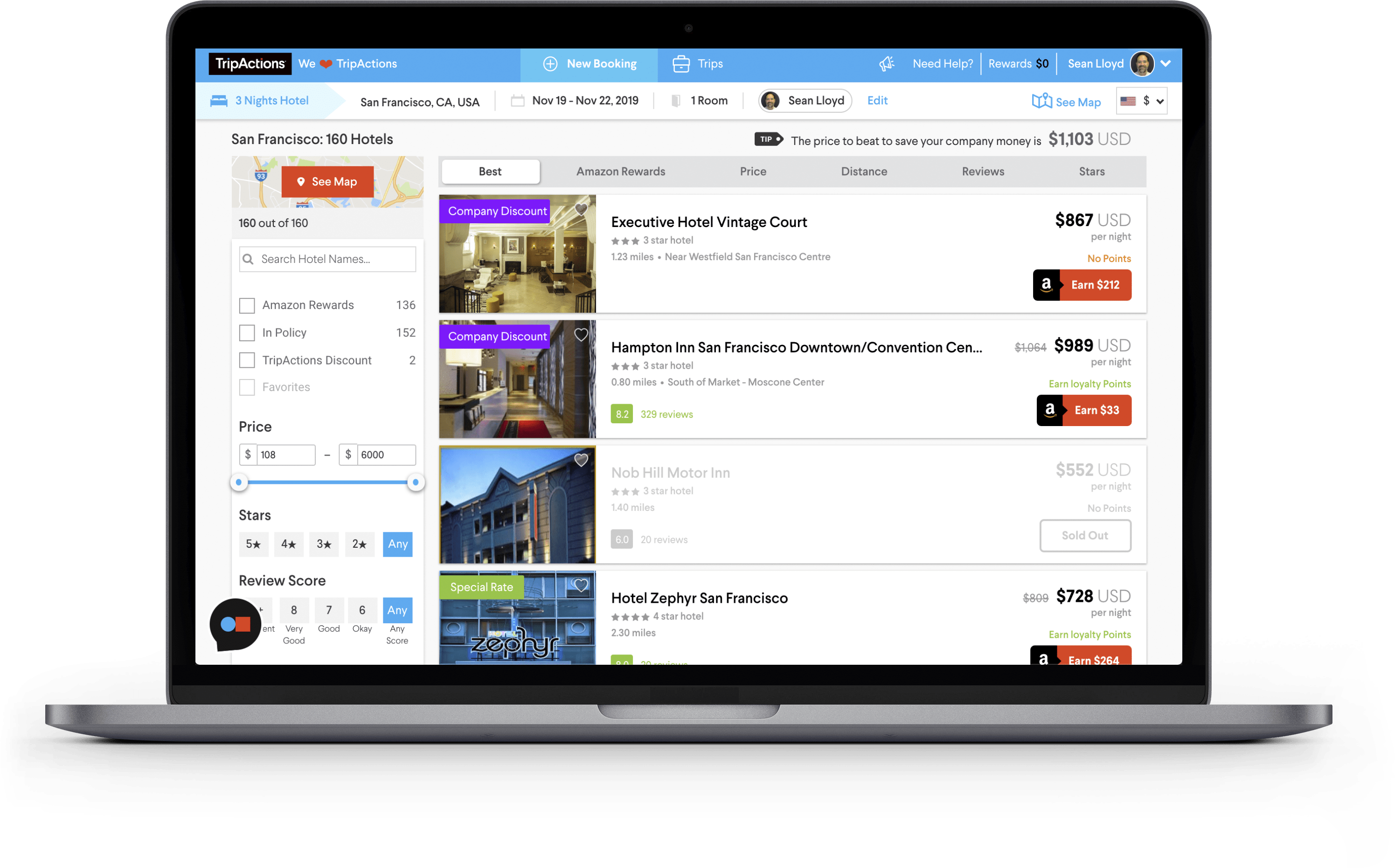 TripActions Product Screenshot - Great experience and inventory encourages adoption and savings
