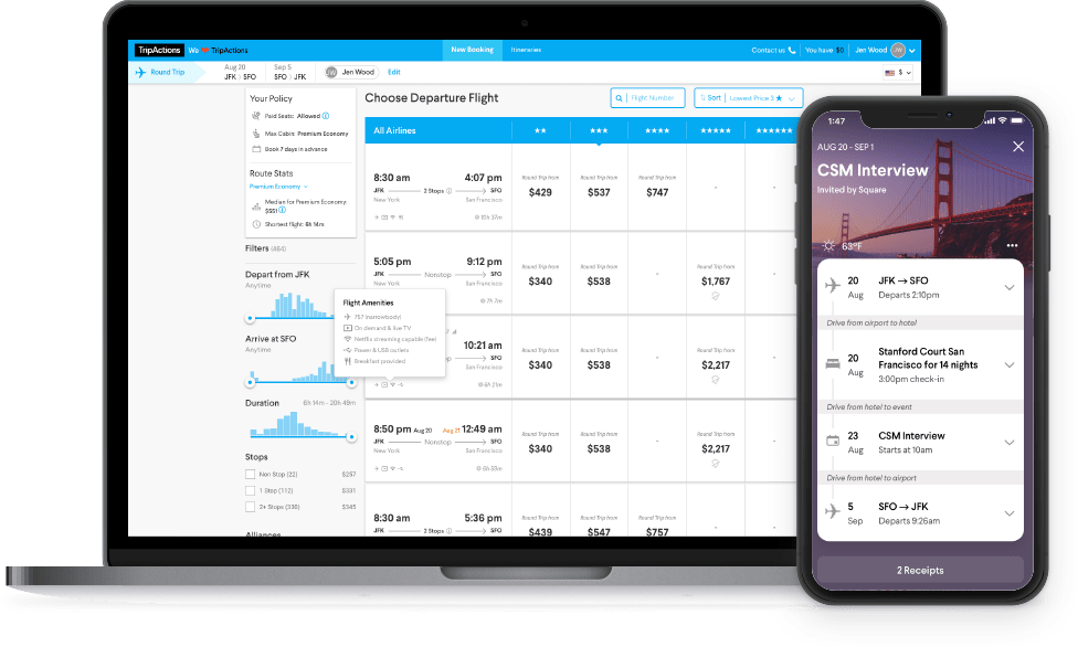TripActions Product Screenshot - Modern business travel platform