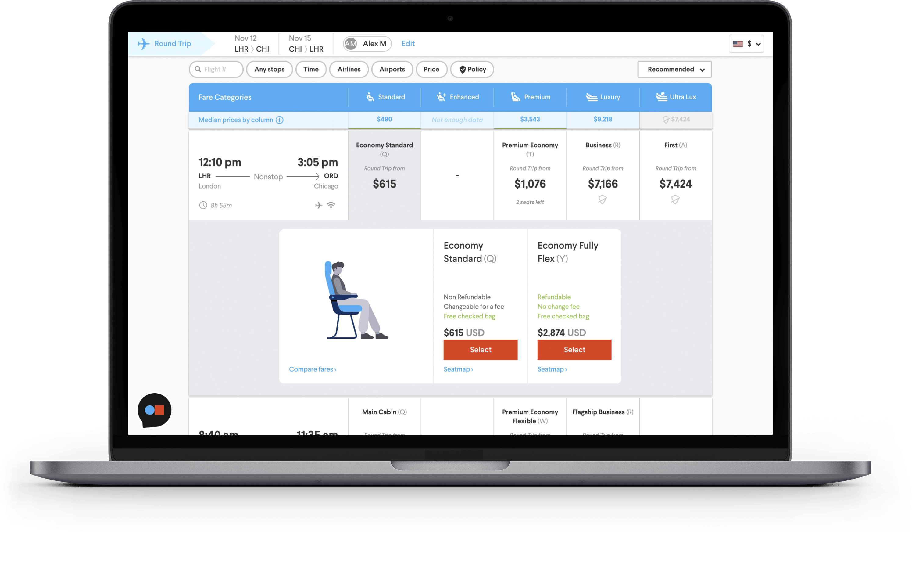 TripActions Product Screenshot - Seat comparison in search interface