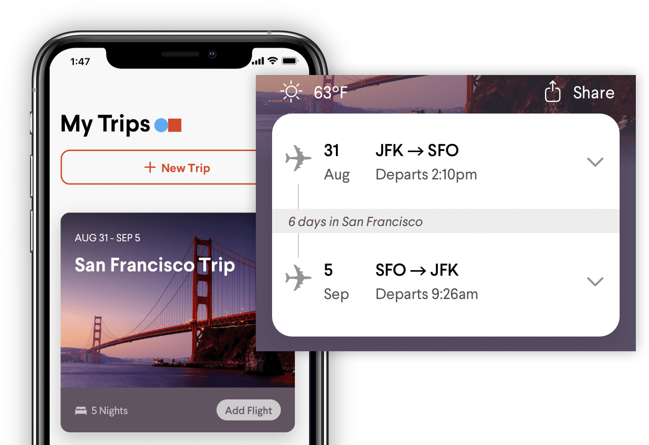 TripActions Product Screenshot - Travelers access travel itinerary in mobile app